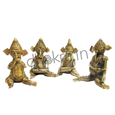 Four Ganesha playing   Musical Instruments
